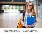 portrait of female student...   Shutterstock . vector #763460491