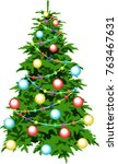 christmas tree is decorated... | Shutterstock .eps vector #763467631