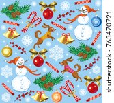 vector christmas seamless...   Shutterstock .eps vector #763470721