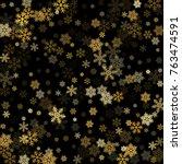golden snowflakes falling...   Shutterstock .eps vector #763474591