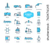 oil industry thin line icons ... | Shutterstock .eps vector #763476145