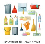 Set Of Cleaning Supplies Tools...