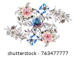 watercolor hand drawn pattern...   Shutterstock . vector #763477777