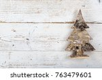 christmas decoration on wooden... | Shutterstock . vector #763479601