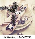 christmas table setting.... | Shutterstock . vector #763479745