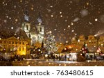 the old town square at... | Shutterstock . vector #763480615