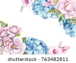 card with place for text  rose... | Shutterstock . vector #763482811