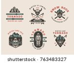 set of vintage snowboarding ... | Shutterstock .eps vector #763483327