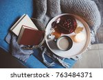 cozy winter weekend at home.... | Shutterstock . vector #763484371