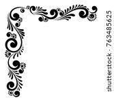 decorative floral vector... | Shutterstock .eps vector #763485625