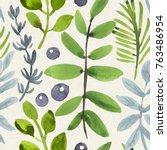 seamless watercolor pattern on... | Shutterstock . vector #763486954
