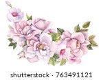 elegant bouquet of flowers ... | Shutterstock . vector #763491121