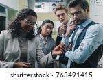 multiethnic businesspeople... | Shutterstock . vector #763491415