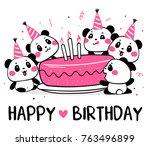 happy cute pandas celebrate... | Shutterstock .eps vector #763496899
