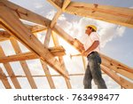 worker roofer builder working... | Shutterstock . vector #763498477