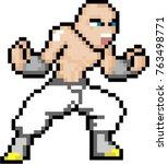 martial art fighter 8 bit pixel ... | Shutterstock .eps vector #763498771