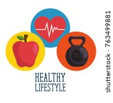 healthy lifestyle concept design | Shutterstock .eps vector #763499881