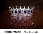 royal crown with sapphires.... | Shutterstock . vector #763510237