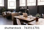 modern office space with tables ... | Shutterstock . vector #763511701