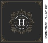 ornament monogram logo design... | Shutterstock .eps vector #763524109
