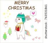 cute unicorn cartoon charactor  ... | Shutterstock .eps vector #763531861