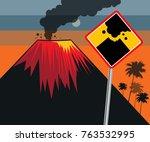 flat design of volcano eruption ...   Shutterstock .eps vector #763532995