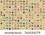 christmas pattern with... | Shutterstock .eps vector #763534279