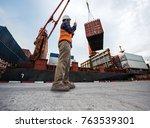the loading supervisor takes in ... | Shutterstock . vector #763539301
