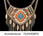 necklace isolated on black... | Shutterstock . vector #763540855