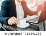 businessman having a coffee... | Shutterstock . vector #763541389