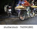Retro Red Bike In Fruit Market...