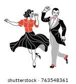 retro dance couple silhouette.... | Shutterstock .eps vector #763548361