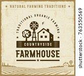 vintage countryside farmhouse... | Shutterstock . vector #763550569