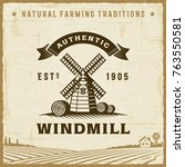 vintage authentic windmill label | Shutterstock . vector #763550581
