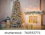 christmas tree  fireplace and... | Shutterstock . vector #763552771