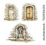 set of doors. freehand drawing... | Shutterstock .eps vector #763556101