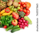 collection fresh fruits and... | Shutterstock . vector #763557865