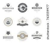 camping logos templates vector... | Shutterstock .eps vector #763559977