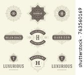 luxury logos templates set ... | Shutterstock .eps vector #763560169