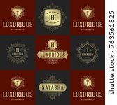 luxury logos templates set ... | Shutterstock .eps vector #763561825
