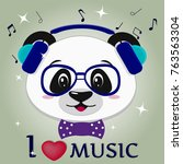 illustration of a cute panda... | Shutterstock . vector #763563304