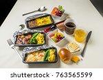 flight meal of the... | Shutterstock . vector #763565599