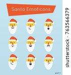 set of santa emoticons  smile ... | Shutterstock .eps vector #763566379