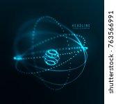 atom concept . abstract network ... | Shutterstock .eps vector #763566991
