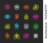 organ neon icon set  vector... | Shutterstock .eps vector #763568797