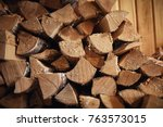 wood burning stove. firewood... | Shutterstock . vector #763573015