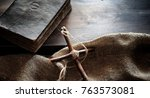 religious old book on a wooden...   Shutterstock . vector #763573081