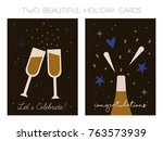 set of two beautiful holiday... | Shutterstock .eps vector #763573939