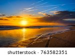 sand beach sunset horizon... | Shutterstock . vector #763582351