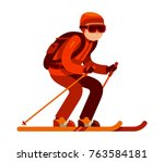 young man skiing in winter flat ... | Shutterstock .eps vector #763584181